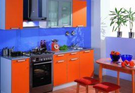 Кухни недорого оранжевый, синий Воронеж