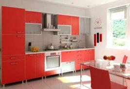 Кухни недорого, цвет красный