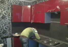 Кухни на заказ Воронеж - красный, черный, серый